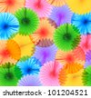 Background of colorful paper fans. - stock photo