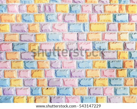 Background of colorful pastel brick wall