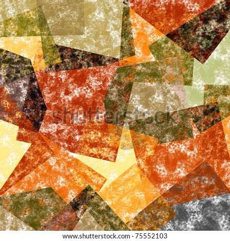 Background of coloured squared shapes in red, yellow, green and other tints - stock photo