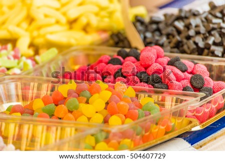 Background of colourful candy jellies in stall market