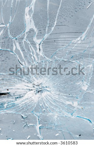 background of cracked and bursted car glass - stock photo