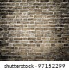 Background of dark black brickwall texture - stock photo