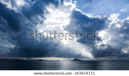 Background of dark sky clouds before a thunder-storm - stock photo