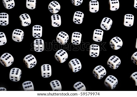 Background of dice with #6, isolated on black - winner concept - stock photo