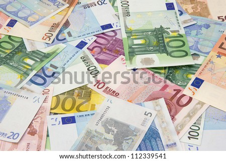 Background of different euro banknotes - stock photo