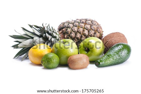 background of different fruits - stock photo