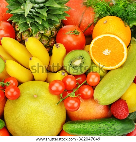background of different fruits and vegetables - stock photo
