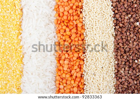 Background of different kinds of grains - stock photo