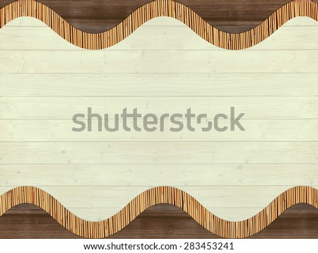 background of different lumbers - bamboo cane,  painted planks, wooden shingles - stock photo