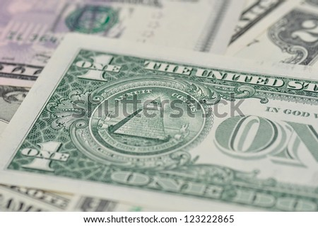 Background of dollar banknotes, with selective focus. - stock photo