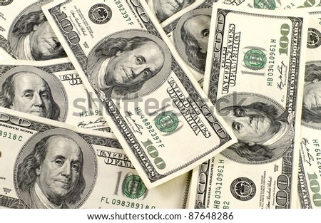 Background of dollar bills - stock photo