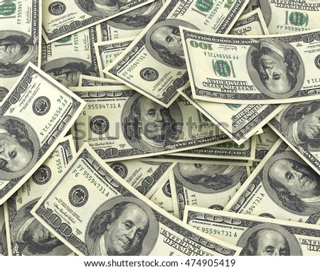 Background of 100 dollar bills. 3d illustration