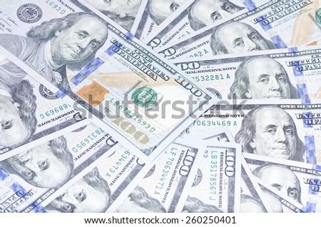 Background of 100 dollar bills, sample 2013 - stock photo