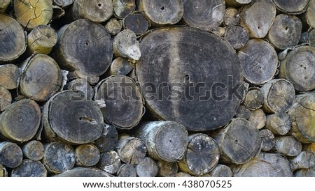 Background of dry teak logs stacked up on top of each other in a pile, Firewood background front view - stock photo