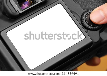 background of dslr camera with blank screen - stock photo
