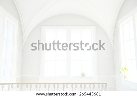 Background of empty big white classical room render with round vault ceiling above rectangular day light windows with flower concrete frame in clear texture gray wall high key backdrop - stock photo