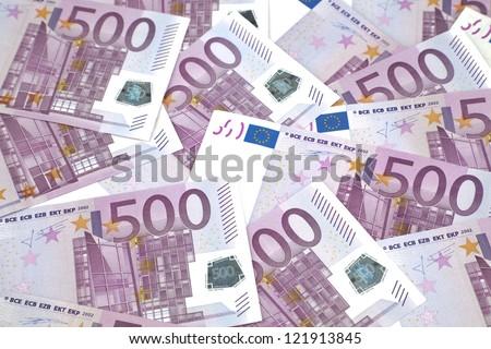 Background of euro bills. 500 euro bills - stock photo