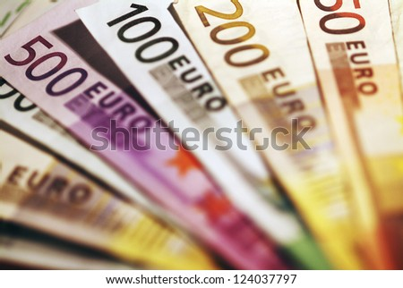 Background of euro bills. Shallow focus.