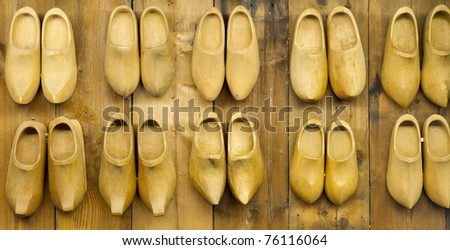 background of Famous traditional Dutch wooden clogs - stock photo