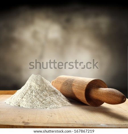 background of flour and roller  - stock photo