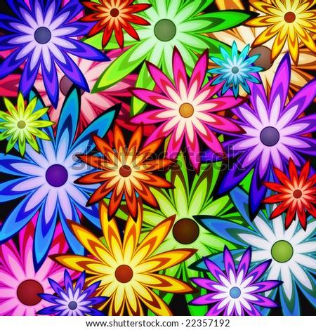 background of flower power - stock photo