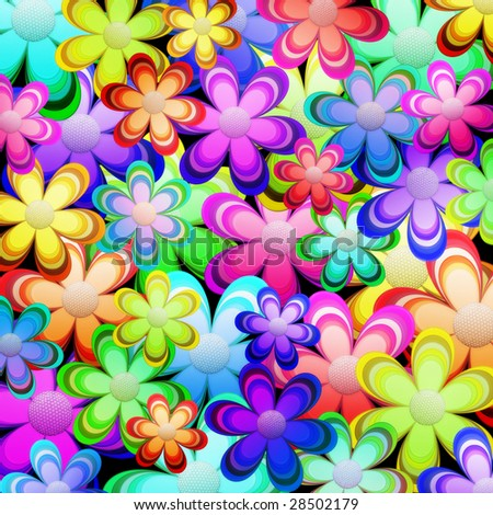 Background of flowers in vibrant colors - stock photo
