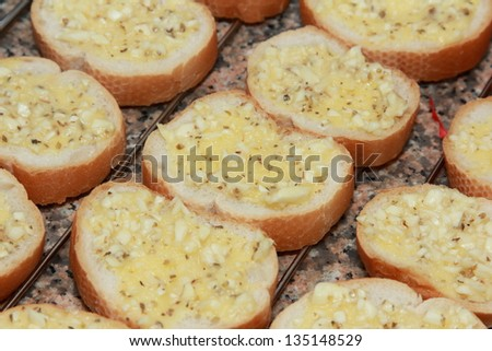 background of french garlic bread - stock photo