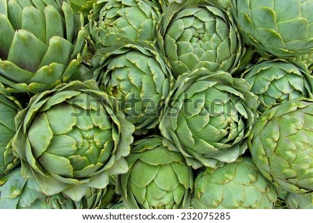 Background of fresh artichokes
