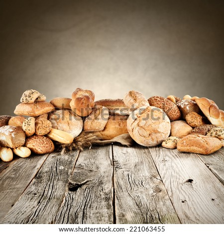 background of fresh bread and free space on table  - stock photo