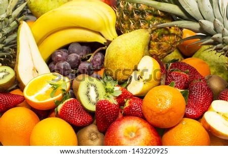 background of fresh fruits - stock photo