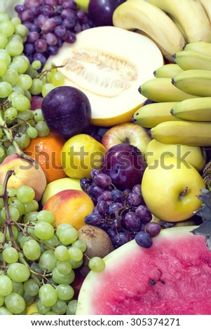 background of fresh fruits bunch berry banana - stock photo