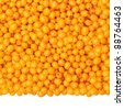 background of fresh, ripe berries of sea buckthorn, isolated from the bottom - stock photo