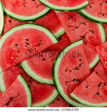 Background of fresh ripe watermelon slices - stock photo