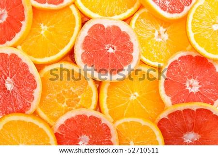 Background of fresh sliced orange - stock photo