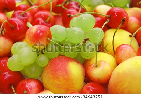 Background of fresh summer fruit