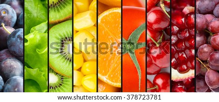 Background of fruits, berries and vegetables. Fresh food