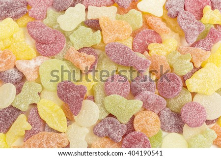 background of fruity gummy candies - stock photo
