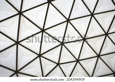 background of geodesic dome roof structure - stock photo