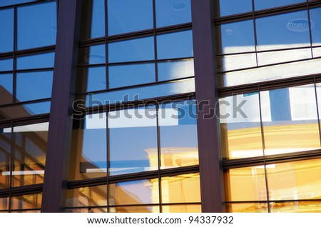 background of glass buildings in a office center of a modern city - stock photo
