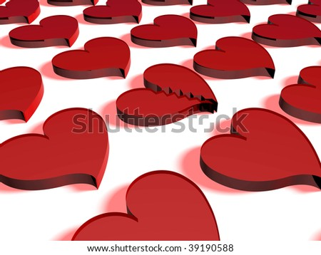 Background of glass hearts. One is broken - stock photo