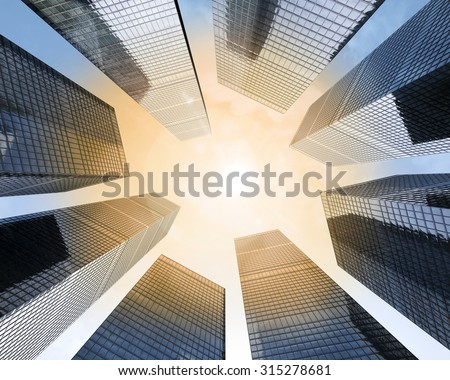 background of glass highrise building skyscraper, modern futuristic commercial city Business concept of successful industrial  - stock photo