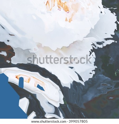 Background of glitch manipulations. Abstract floral shapes of white and blue colors. It can be used for web design and visualization of music - stock photo