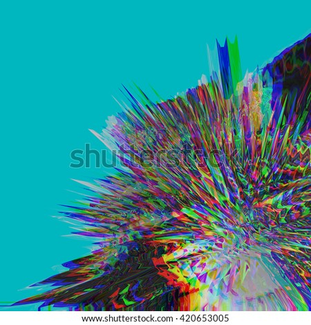 Background of glitch manipulations. Abstract flow of crystals consisting in monochrome with image shift on turquoise background. It can be used for web design and visualization of music. - stock photo