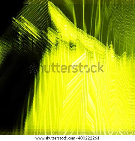Background of glitch manipulations. Feed abstract broken stripes in yellow and green shades. It can be used for web design and visualization of music - stock photo