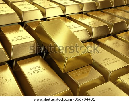 background of gold bars close up high quality - stock photo