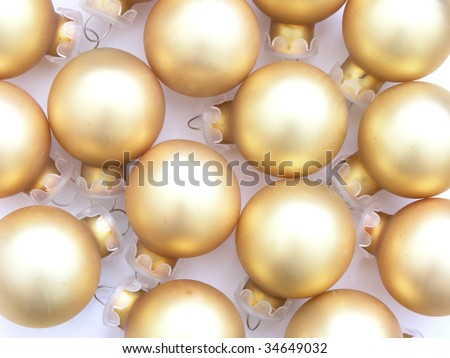 background of gold Christmas tree ornaments - stock photo