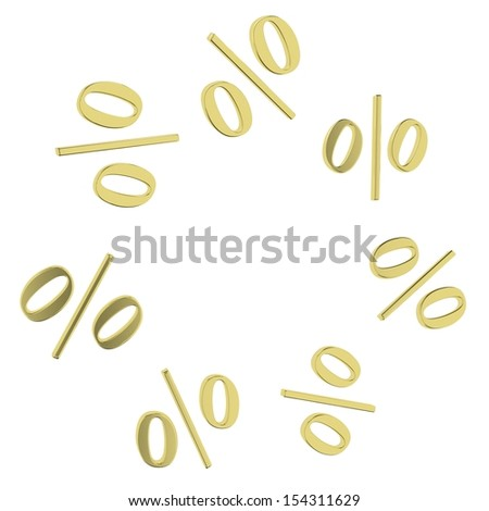 Background of golden percent. Design template - stock photo