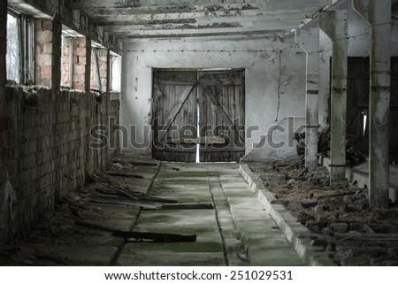 Background of grunge empty interior - stock photo