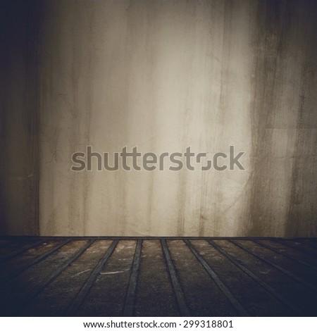 Background of grunge old abandoned indoor room - stock photo