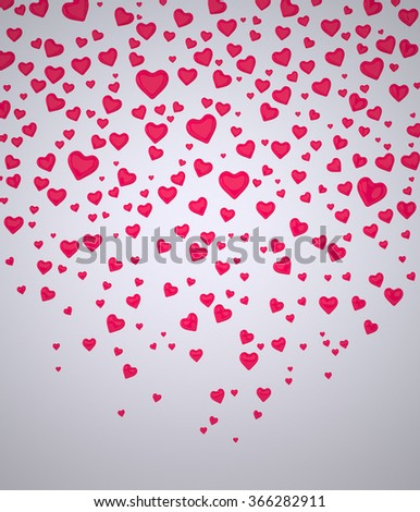 Background of Hearts. A Background of Hearts. Red Hearts. Valentine's Day Hearts. I Love You symbol. Confetti of Hearts. Rendering in 3D Program - stock photo
